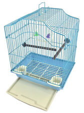 Bird Cage Kit Blue Starter Set Perches Swing Feeders Scalloped Top Small Bird