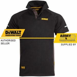 DeWalt Polo Work T-Shirt 2 Button Black Grey Fast-Drying Performance Wicking PWS