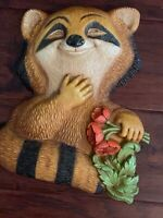 Vintage 1977 Homco Happy Raccoon Holding Flowers Childs Wall Plaque