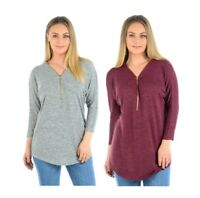 Womens Ladies V Neck Long Sleeve Top 1/4 Zip Plus Size 10 12 14 16 18 20 22