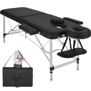 Camilla de masaje en aluminio mesa banco de masaje 2 zonas negro + bolsa