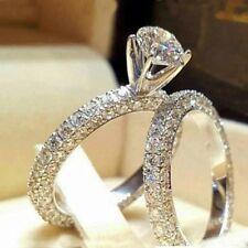 925 Silver White Diamond Ring Set Crystal Gem Valentine's Wedding Jewelery Gift