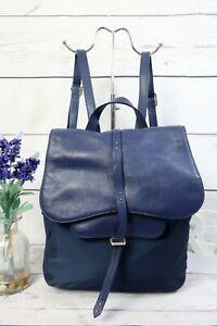 RADLEY Grosvenor Backpack Rucksack Flap Bag Lightweight Med Blue Leather/Fabric