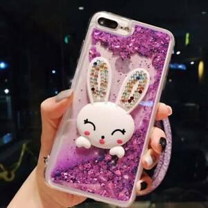 Dynamic Liquid Glitter Quicksand rabbit Phone Back Case Cover & neck strap #4