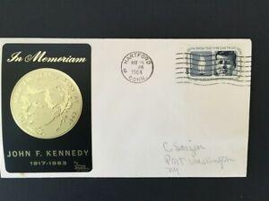 John F. KENNEDY, President, Black metallic w/ gold, unofficial HARTFORD, Connect