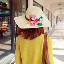 Women Fashion Chic BOHO Bohemian Flower Wide Brim Beach Straw Floppy Sun Hat