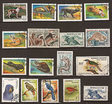 MADAGASCAR 17 timbres obliteres, animaux domestiques,sauvages et oiseaux 192T5