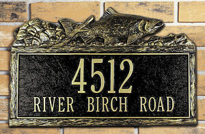 Whitehall Woodland Trout Address Plaque Personalized Wall Sign 17 Color Choices