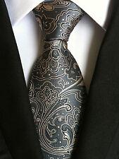 (NT144) Men Necktie Classic Grey Floral Wedding Office Business Party Formal Tie