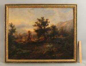 Lrg 19thC Antique American Country Home Farm Hudson River Landscape Oil Painting