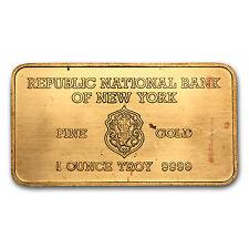 1 oz Gold Bar - Heraeus (Republic National Bank of New York) - SKU #65350