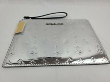 Michael Kors Women's Jet Set Silver XL Travel Clutch Wristlet Purse New