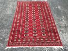 VINTAGE HAND MADE ORIENTAL RUG 4' x 6' Wool Pile Hand Knotted VTG, Red