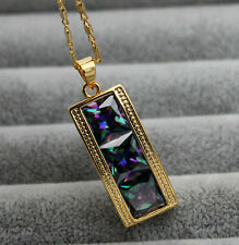 18K Yellow Gold Filled- 8MM Square MYSTICAL Rainbow Topaz Noble Pendant Necklace