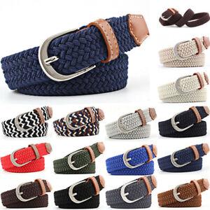 Mens Womans Waist Belt Leather Canvas Woven Elastic Stretch Pin Buckle U Belts