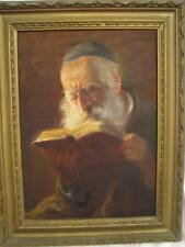 A Rabbi Reading ~ Antique Original Painting ~ Oil on board ~ Signed ~ Judaica