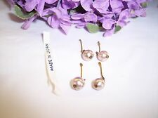 Vintage Doll Earrings Pearl 2 Pair Made In Japan Bleuette , Antique