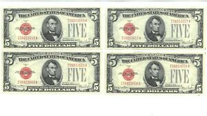 Set of 4 1928F $5 United States Notes Sequential Serial #'s 190098p