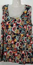 Slinky Brand Women's Floral Sleeveless Tank Top S Small 6 8 Plus Size New NWT