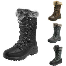 Women Insulated Waterproof Rubber Warm Faux Fur Lined Lace Up Winter Snow Boots