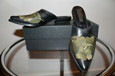 GIANNI BARBATO 7.5 37 Embroidered Cowboy Western Mules Slides Handmade $880