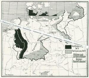 Das deutsche Reich - Übersichtskarte - Wehrverbot für Deutschland - um 1930