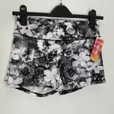 ShoSho Sport Womens Shorts Size M Abstract Floral Athletic Black Gray 7SH19 New