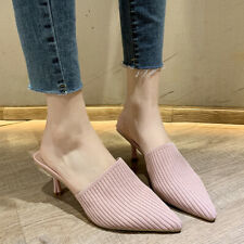 Womens Med Kitten Heels Pointed Toe Knitted Mules Slippers Slip On Fashion Shoes