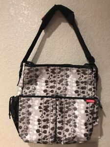 SKIP HOP Gray & White Large Diaper Bag Tote Carry All with Stroller straps.