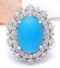 7.10CTW NATURAL TURQUOISE AND DIAMOND RING IN 14K WHITE GOLD