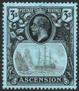 ASCENSION: 1924-33 3/- Grey-Black & Black/Blue Sg 20 U.Mint - Cat £100+ (43079)
