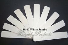 (10pcs) White Jumbo Nail Files 80/80 Grit Square Shape 7x1 Acrylic Sanding File