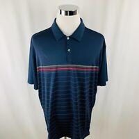 Nike Golf Dri-Fit Short Sleeve Navy Blue Polo Shirt Mens 2XL XXL