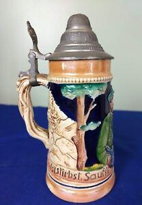 Vintage German Made Ceramic Beer Stein/Mug (6 inch tall)