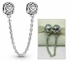 Genuine Pandora ALE Sterling Silver 925 Enchanted Heart Safety Chain 796457CZ