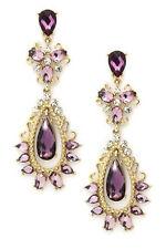 Charming Purple Amethyst Crystal Women Long Bohemian Pierced Dangle Earrings