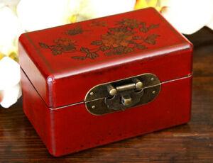 Chinesische Truhe China Schmuck Schatulle Box Rot Gold Schmuckkästchen