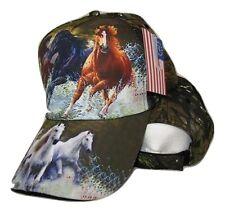 Three Horse Running Horses Camo Camouflage Printed Baseball Cap Hat