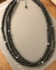 "Bead Necklace 3 Strand 16"" Silpada N1500 Sterling Silver Black Glass"