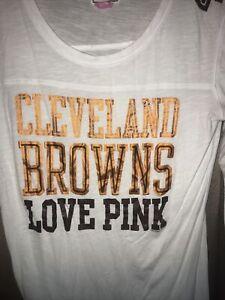 PINK Victorias Secret Cleveland Browns Shirt Bling Top Size Large