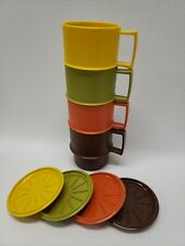 Vintage NOS Tupperware Coffee Mugs Harvest Colors With Lids Set of 4 (1312)