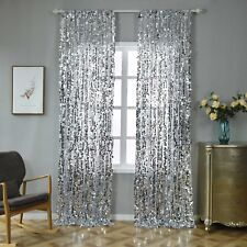 "2 pcs Silver 52"" x 108"" Big Payette Sequin Window CURTAINS Drapes Panels Home"