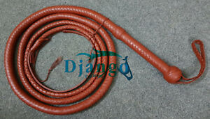 8 Feet Indiana Jones Bullwhip 12 Plait Top Grain Tan Cowhide Leather Custom whip