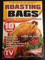 10 PACK LARGE ROASTING BAGS OVEN MICROWAVE COOKING MEAT CHICKEN FISH VEGETABLES