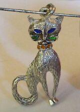 Vintage Kitty Pendant,Sterling