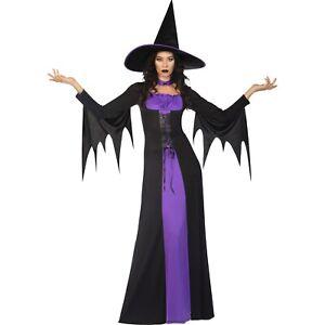 Adult Ladies Classic Purple Witch Fancy Dress Halloween Costume & Hat Book Week