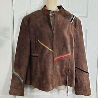 SFR SANTAFE RE-CREATIONS Size XL Vintage Brown Leather Suede Retro Jacket Womens