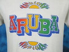 vintage 80s ARUBA RAINBOW SUNSET T-Shirt SMALL beach surf skate dutch soft thin