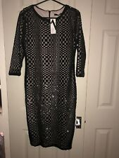 BNWT's TFNC Size 14 black fitted 3/4 sleeve knee length sequin dress