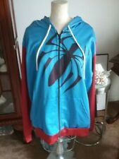 Spiderman Into the Spider-Verse 5X L lightweight Jacket Hoodie Blue and Red Zips